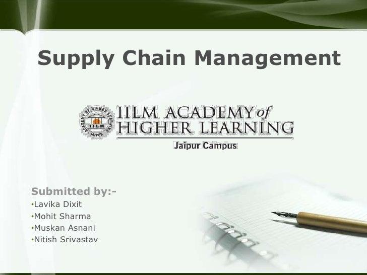 Supply Chain ManagementSubmitted by:-•Lavika Dixit•Mohit Sharma•Muskan Asnani•Nitish Srivastav