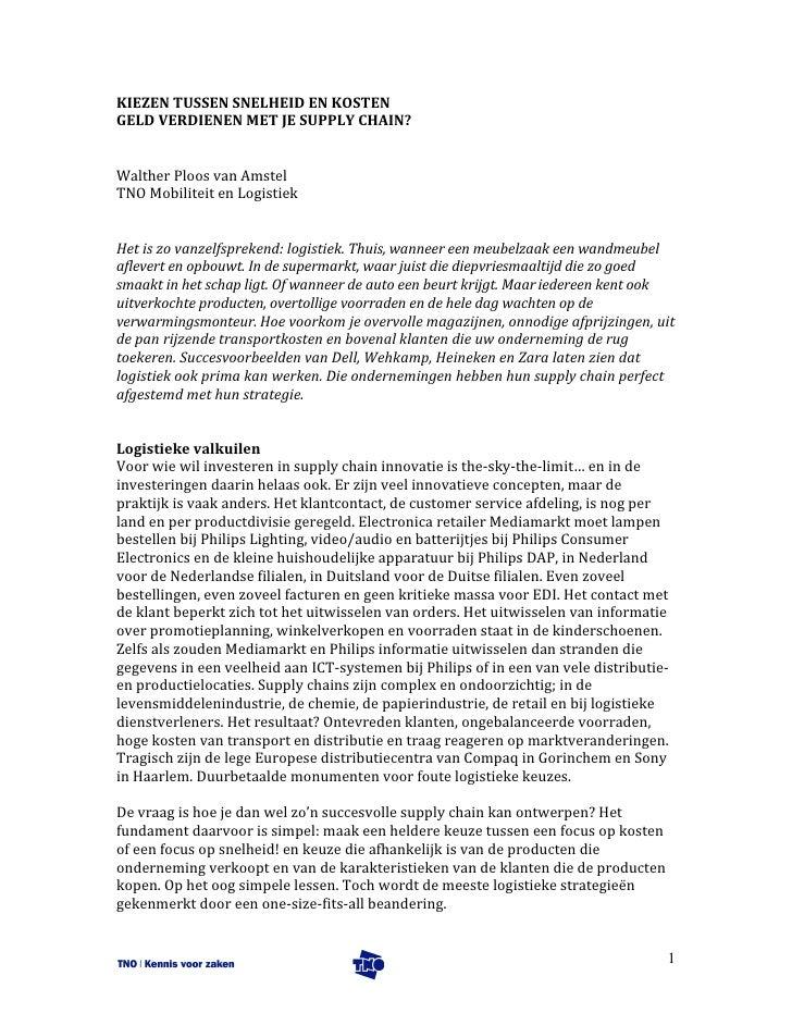 Strategie in SCM: kosten of responsiviteit