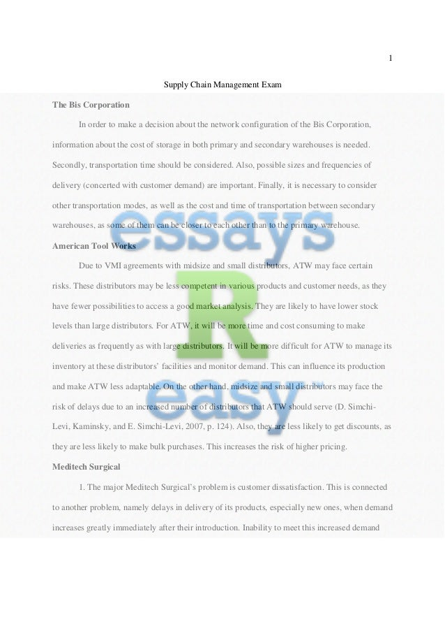 supply chain management gap essay