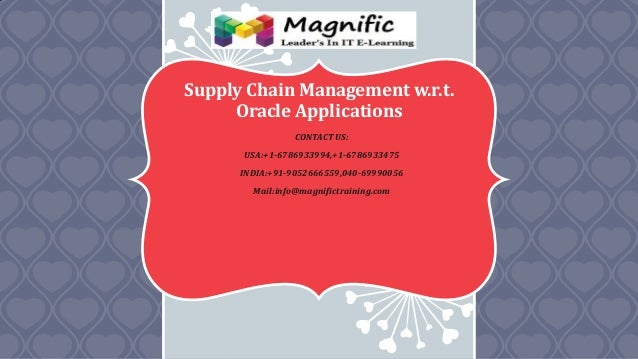 Supply Chain Management w.r.t. Oracle Applications CONTACT US: USA:+1-6786933994,+1-6786933475 INDIA:+91-9052666559,040-69...
