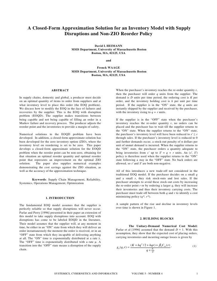 A Closed-Form Approximation Solution for an Inventory Model with Supply                      Disruptions and Non-ZIO Reord...