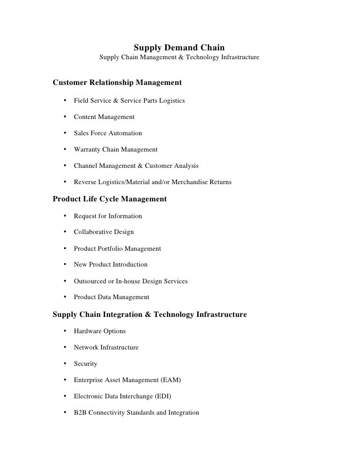 Supply Demand Chain                  Supply Chain Management & Technology Infrastructure   Customer Relationship Managemen...