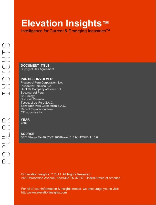 Elevation Insights™    Supply of Gas Agreement   (CF Industries, several Peruvian suppliers)