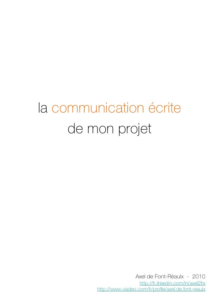 la communication écrite de mon projet professionnel