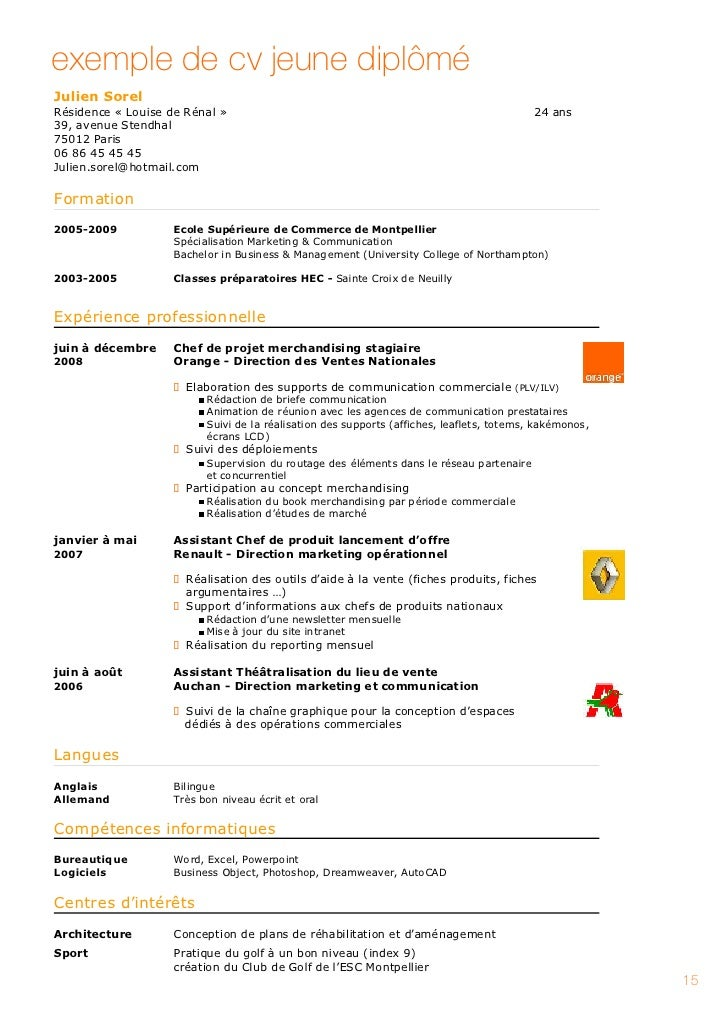 exemple cv ecole de commerce