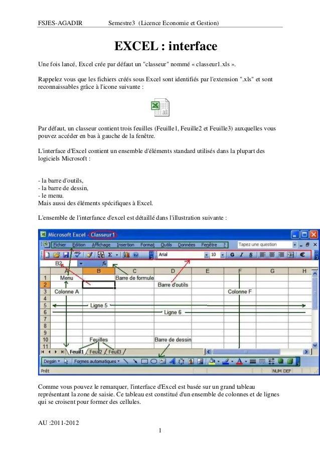 """FSJES-AGADIR  Semestre3 (Licence Economie et Gestion)  EXCEL : interface Une fois lancé, Excel crée par défaut un """"classeu..."""