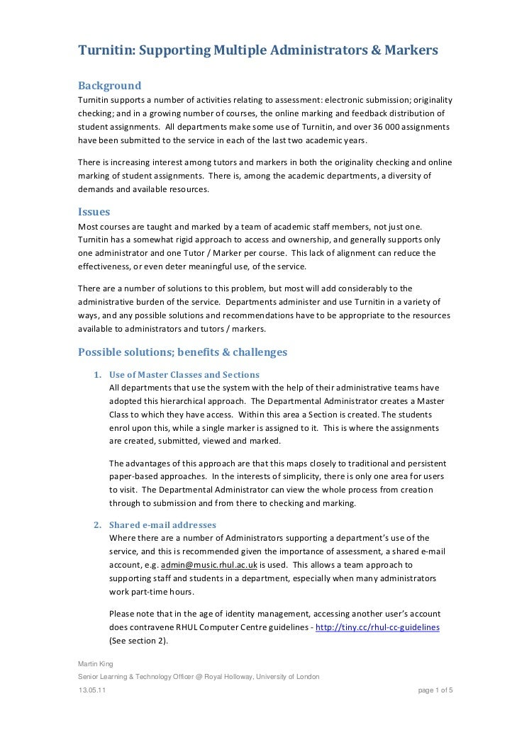 Turnitin:SupportingMultipleAdministrators&MarkersBackgroundTurnitinsupportsanumberofactivitiesrelatingtoass...