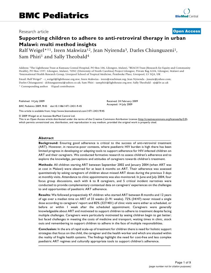 Supporting children to adhere to anti retroviral therapy in multi method insights bmjc 2009 1471-2431-9-45