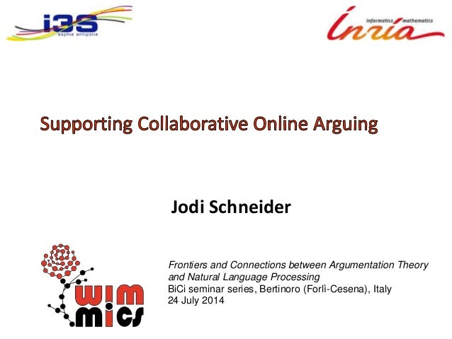 Supporting collaborative online arguing -- talk for BICI Frontiers and Connections between Argumentation Theory and Natural Language Processing 2014-07-24