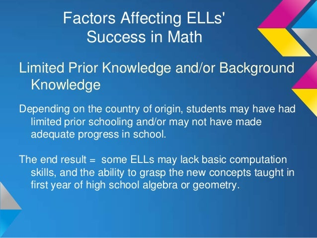 factors affecting mathematics performance of laboratory Student performance in mathematics is closely associated with the scientific and technological innovations worldwide the purpose of this study was to determine the factors that affect student performance in mathematics in secondary schools in uasin gishu district.