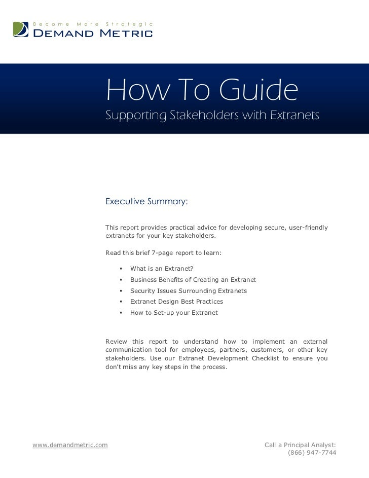 How To Guide                   Supporting Stakeholders with Extranets                   Executive Summary:                ...