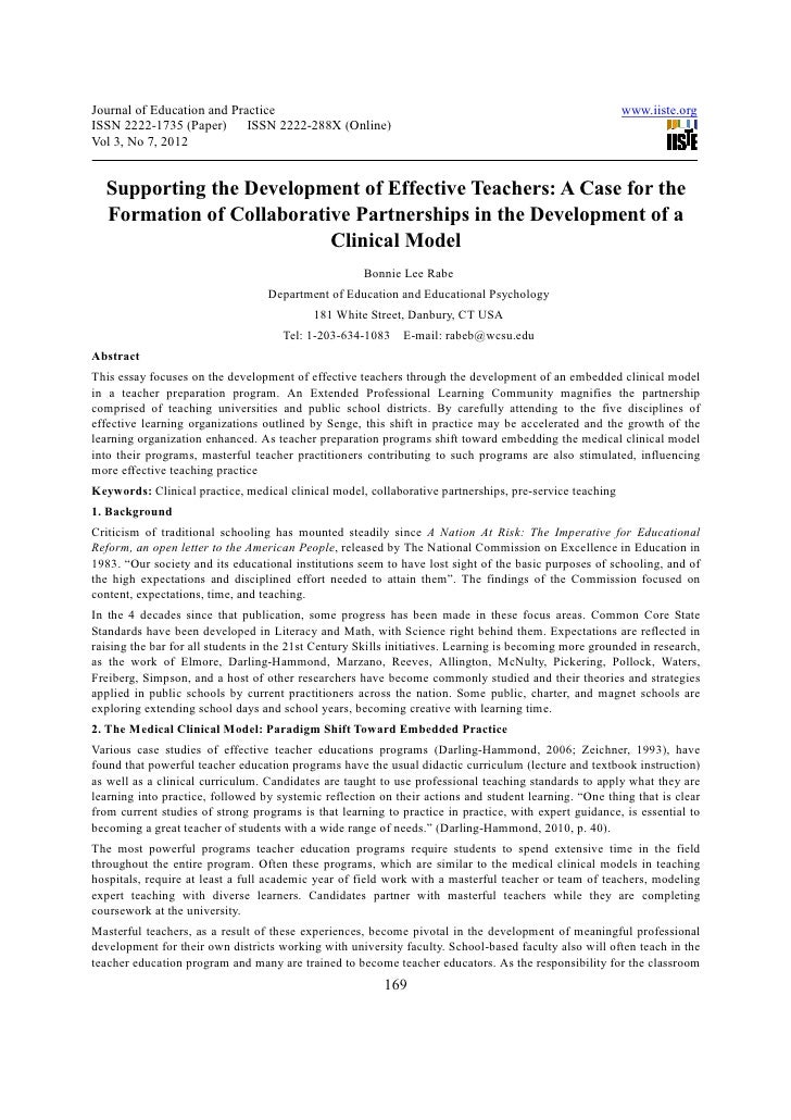 Supporting the development of effective teachers a case for the formation of collaborative partnerships in the development of a clinical model