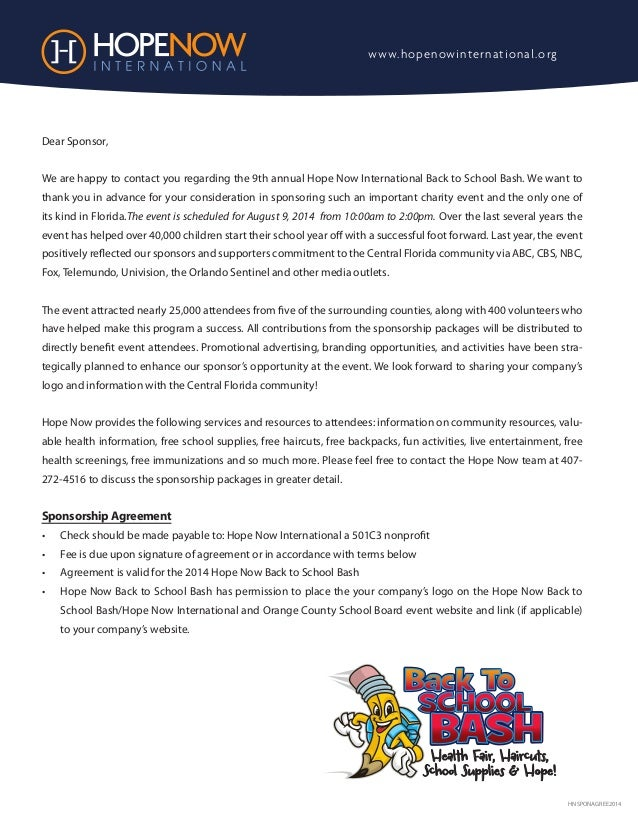 HNSPONAGREE2014 Dear Sponsor, We are happy to contact you regarding the 9th annual Hope Now International Back to School B...