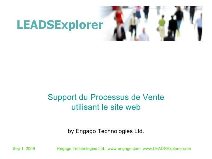 by Engago Technologies Ltd. Support du Processus de Vente utilisant le site web