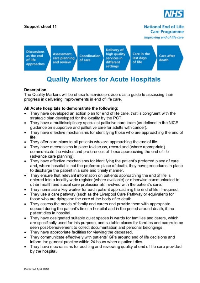 Support sheet 11  Quality Markers for Acute Hospitals Description The Quality Markers will be of use to service providers ...