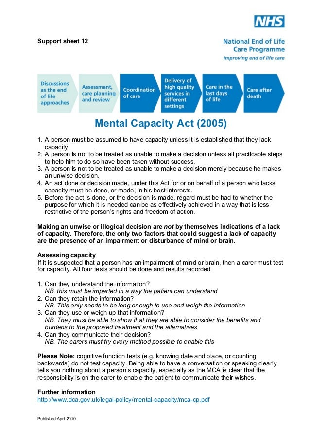 Support Sheet 12: Mental Capacity Act (2005)
