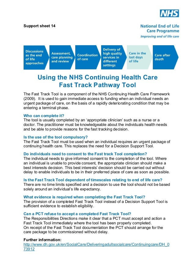 Support Sheet 14: Using the NHS Continuing Health Care Fast Track Pathway Tool