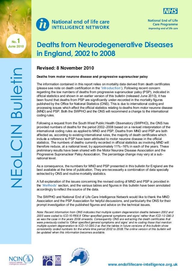 1  NEoLCIN Bulletin  No. June 2010  Deaths from Neurodegenerative Diseases in England, 2002 to 2008 Revised: 8 November 20...