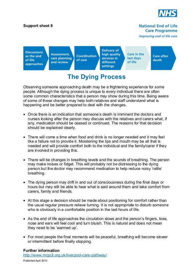 Support Sheet 8: The Dying Process