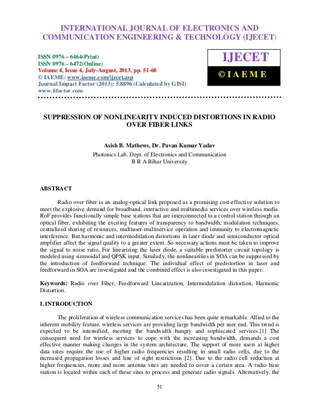 Suppression of nonlinearity induced distortions in radio over fiber links
