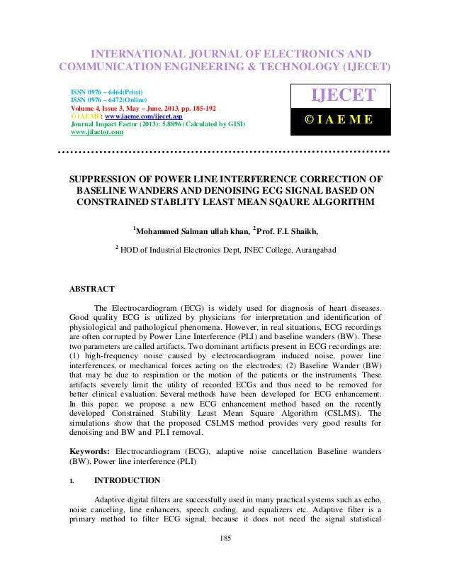Suppression of power line interference correction of baselinewanders and