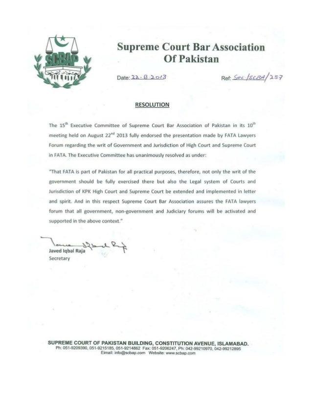 Supreme Court Bar Association FATA Resolution (August 2013)