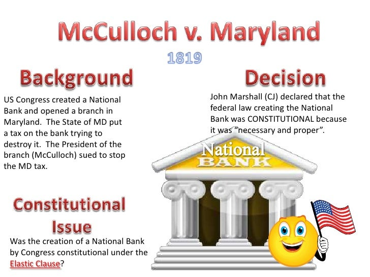 Supreme Court Case Study 2 Mcculloch V. Maryland Answer ...