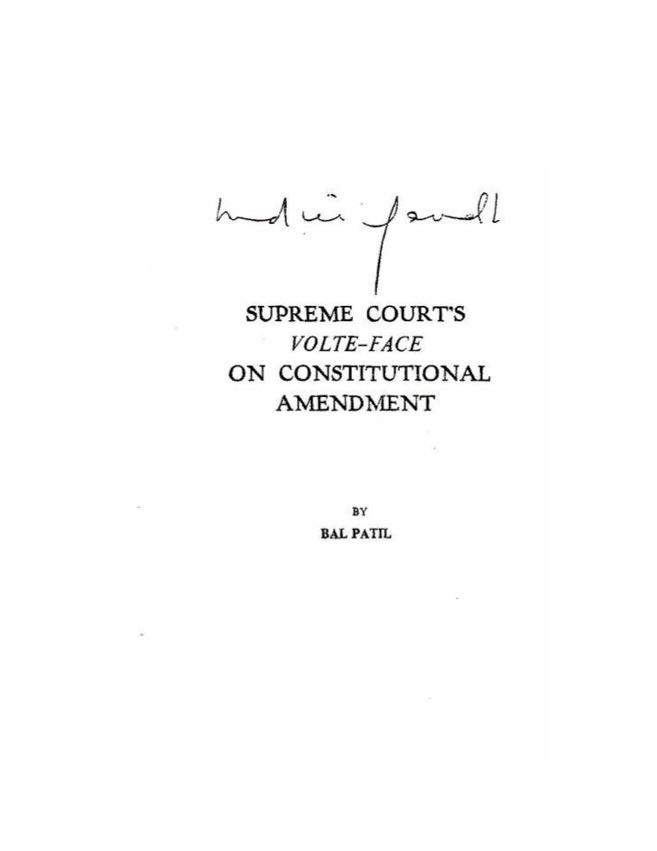 Supreme courts volte face on Constitutional Amendmendt