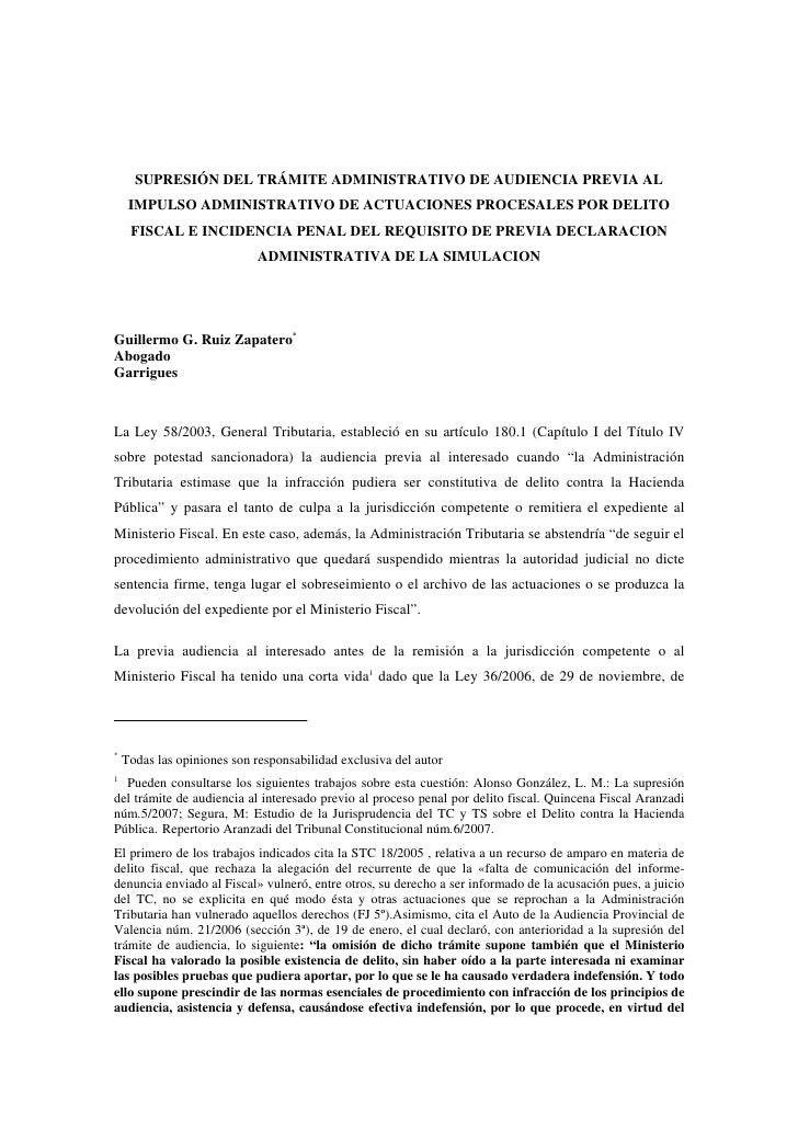 SUPRESIÓN DEL TRÁMITE ADMINISTRATIVO DE AUDIENCIA PREVIA AL      IMPULSO ADMINISTRATIVO DE ACTUACIONES PROCESALES POR DELI...