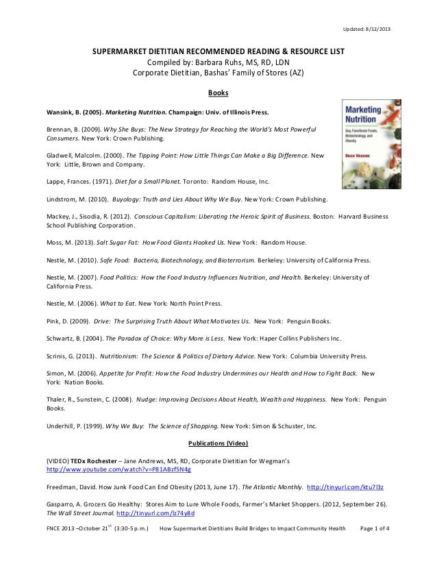 Supermarket Dietitian - 2013 Recommended Reading List