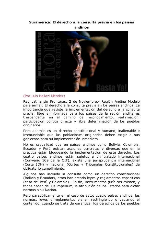 Suramérica: El derecho a la consulta previa en los países andinos  (Por Luis Hallazi Méndez) Red Latina sin Fronteras, 2 d...