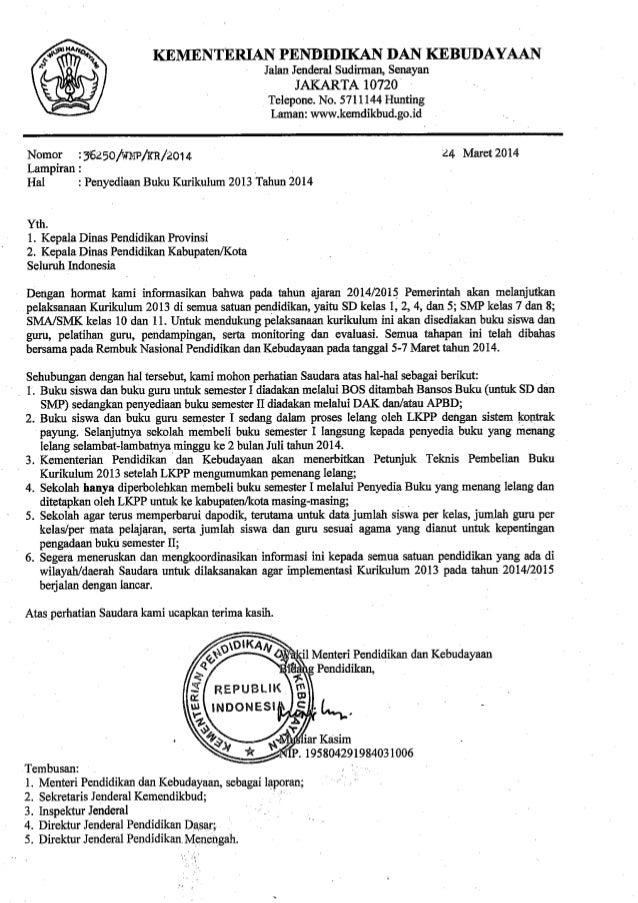 Surat Edaran Wamendikbud tentang Penyediaan Buku Kurikulum 2013 Tahun 2014