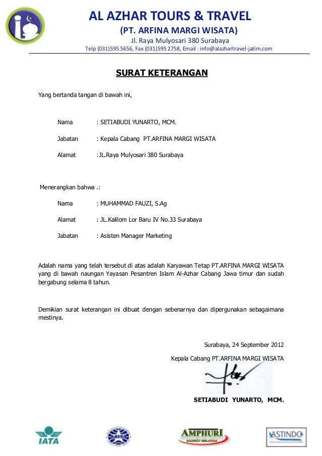 AL AZHAR TOURS & TRAVEL                              (PT. ARFINA MARGI WISATA)                                   Jl. Raya ...