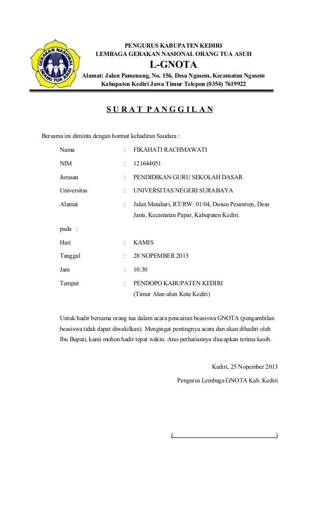 Contoh Surat Panggilan Untuk Orang Tua Dari Sekolah Surat Ijin Tidak Masuk Kuliah Dan Surat
