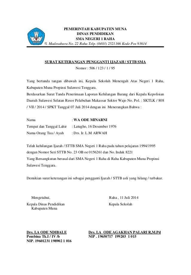 PEMERINTAH KABUPATEN MUNA DINAS PENDIDIKAN SMA NEGERI 1 RAHA Jl. Madesabara No. 22 Raha Telp. (0403) 2521166 Kode Pos 9361...