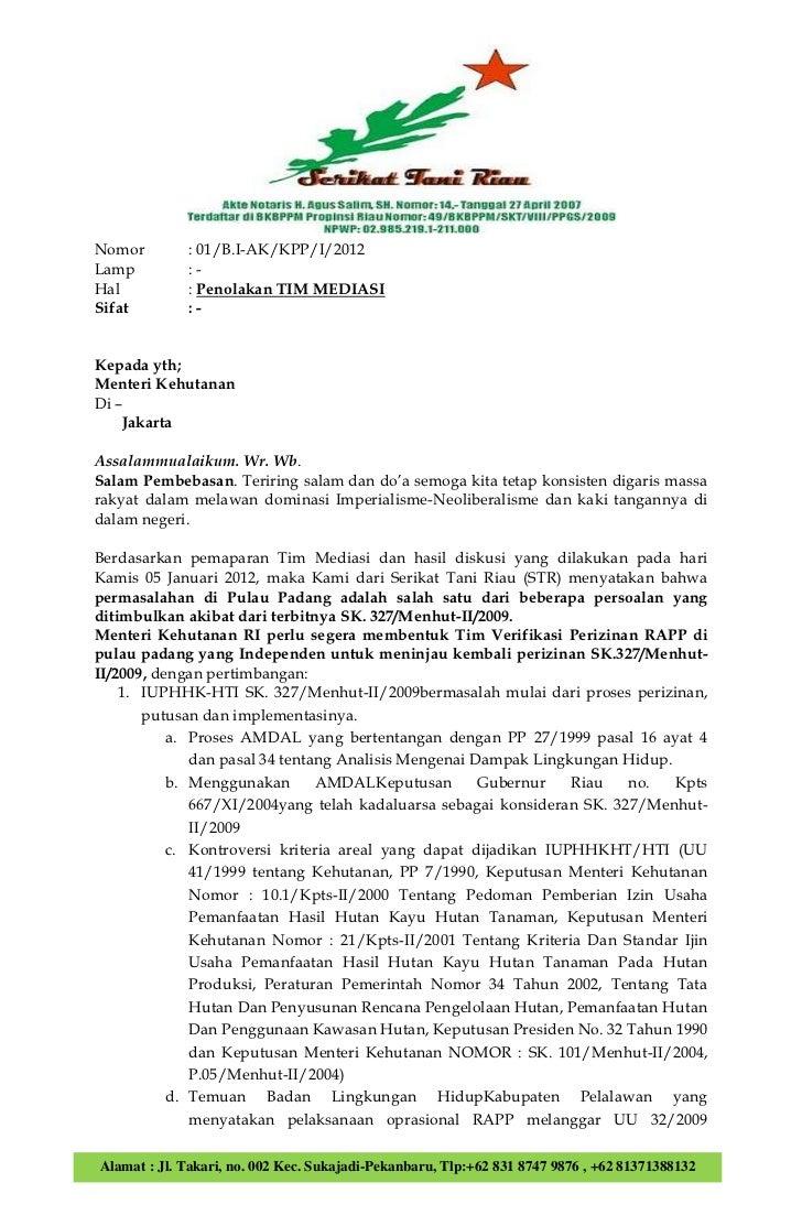 Surat STR menolak TIM MEDIASI