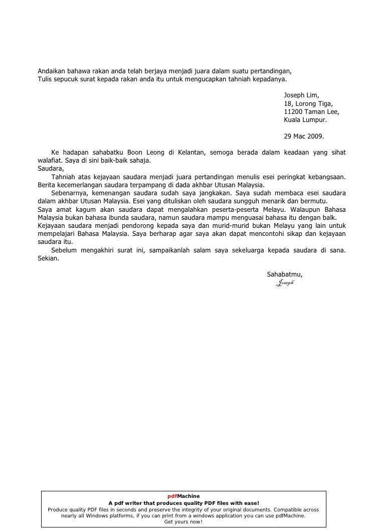 Surat Kiriman Tidak Rasmi English Arasmi