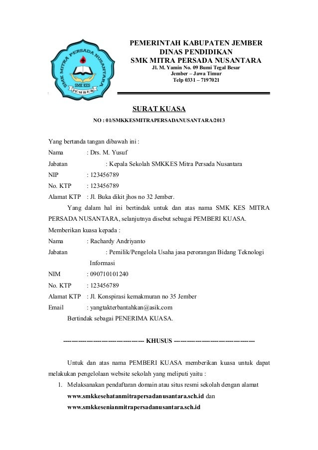 638 x 903 jpeg 93kB, Contoh Surat Kuasa Yudhim Blog  Share The