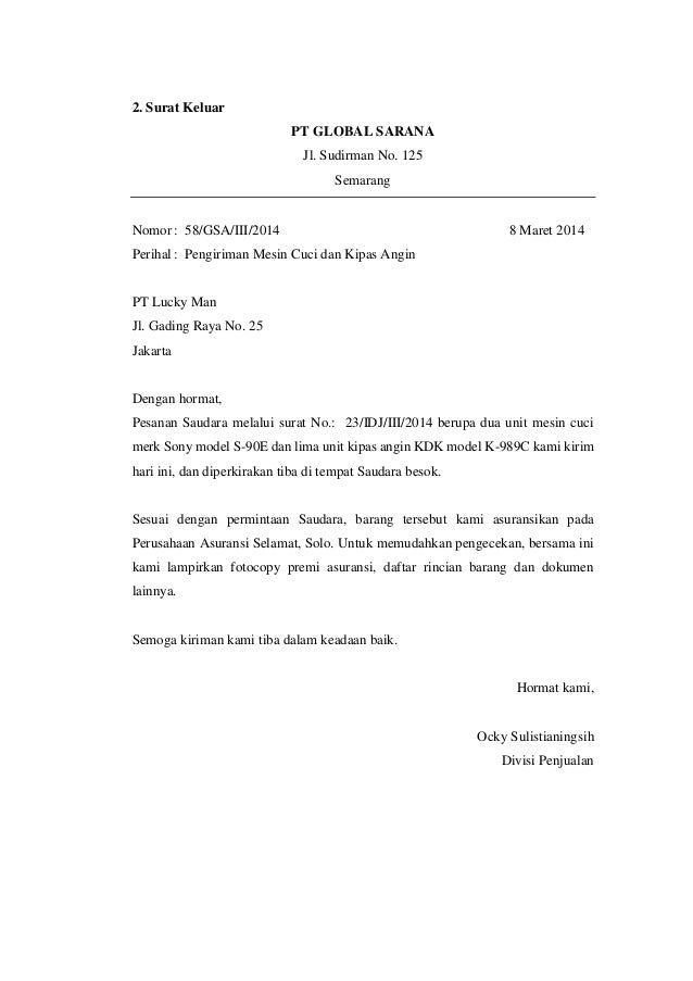 Image Result For Contoh Surat Niaga
