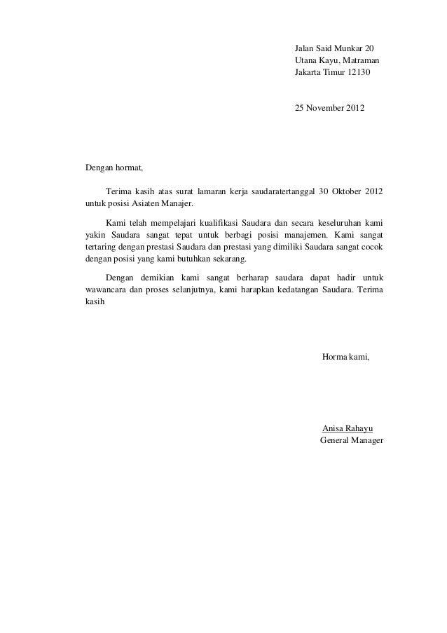 Surat Penerimaan Lamaran Kerja B Indo Dan B Ing