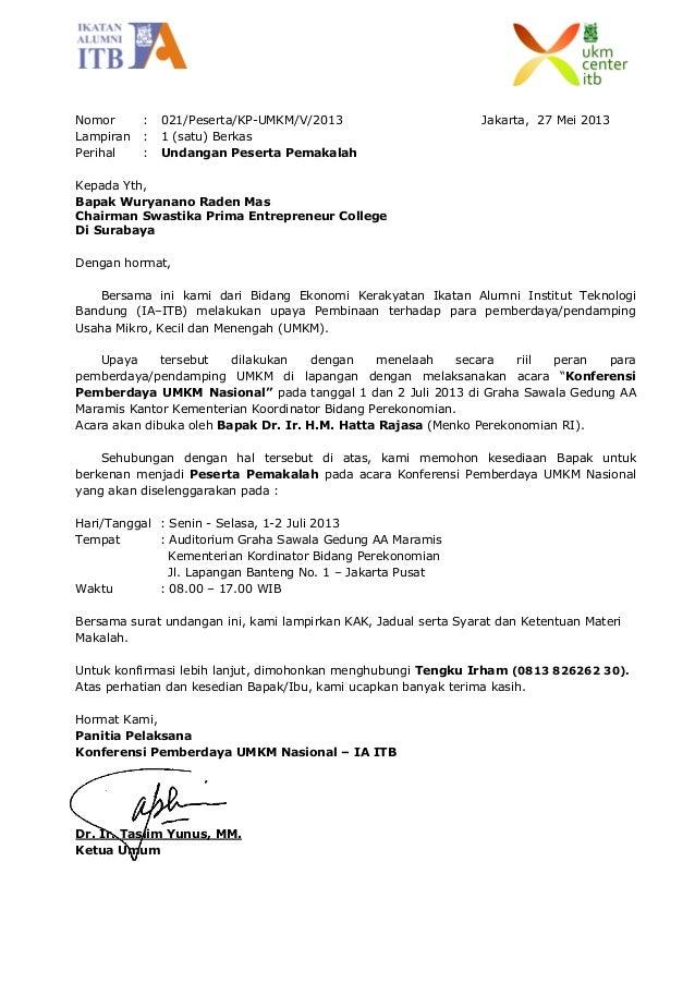 Surat Pengantar dari Panitia Konferensi Nasional