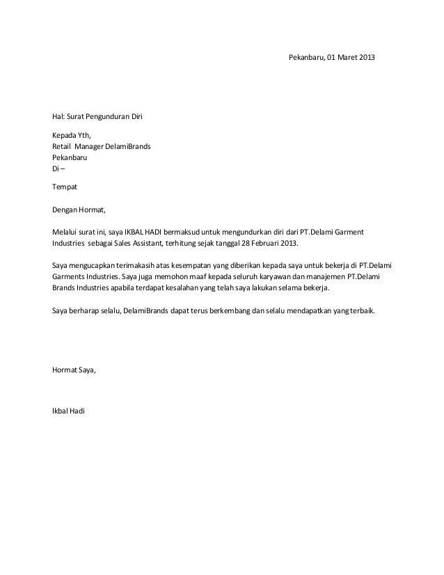 72 Free Download Contoh Surat Resign English Format Doc