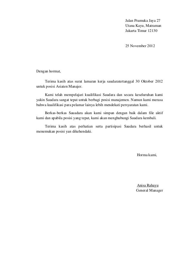 Surat penolakan lamaran kerja b.indo dan b.ing