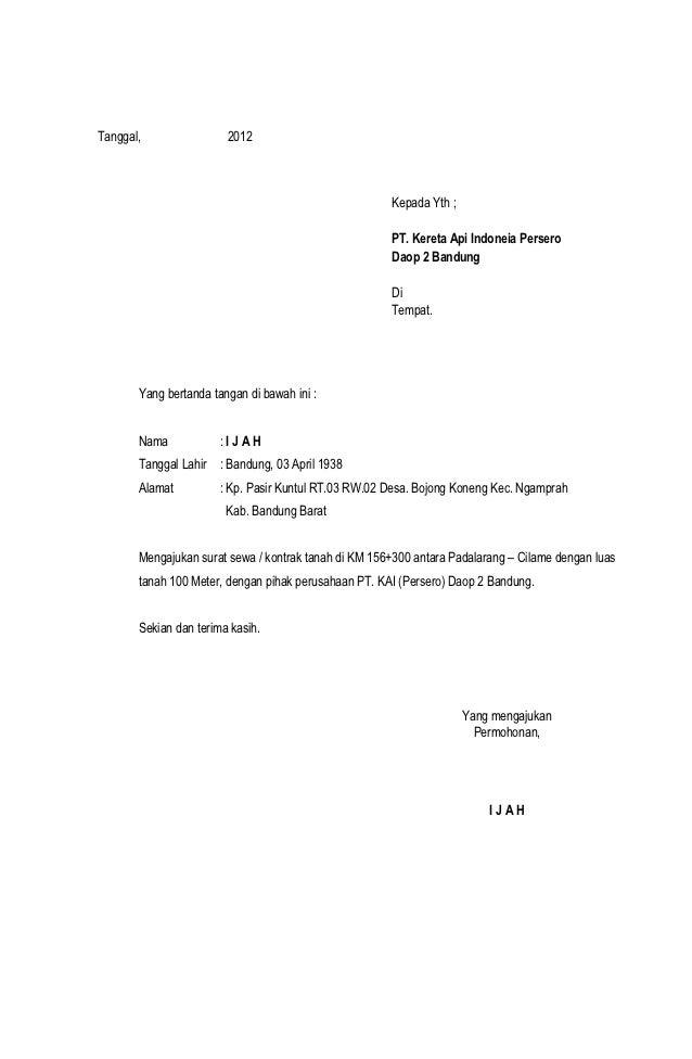surat permohonan sewa tanah pjka
