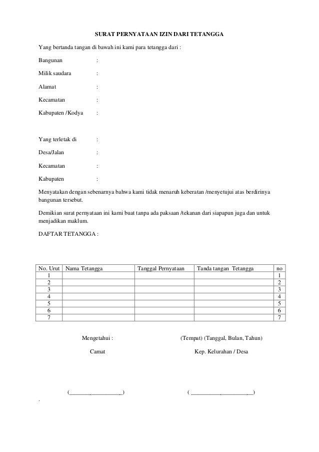 Surat pernyataan izin dari tetangga