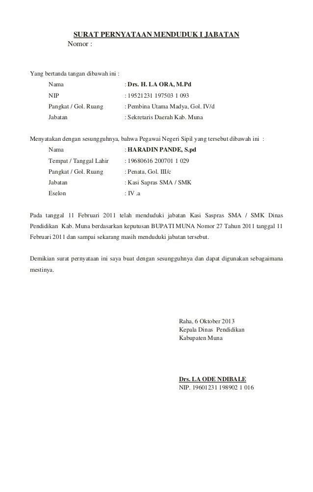 Surat pernyataan menduduk i jabatan