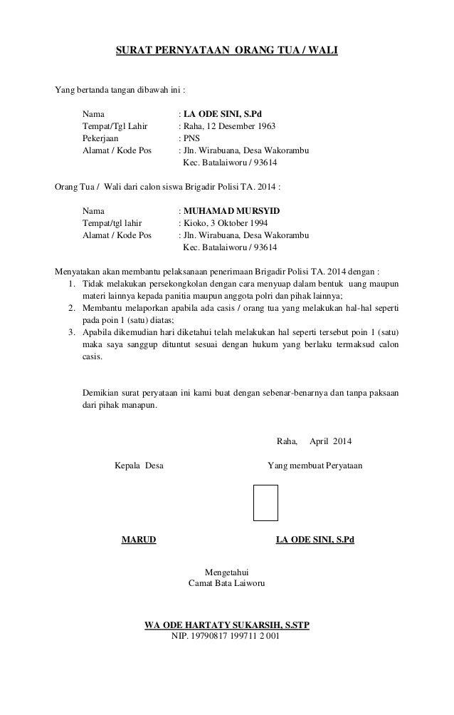 Contoh Surat Pernyataan Orang Tua Wali Murid Contoh Surat