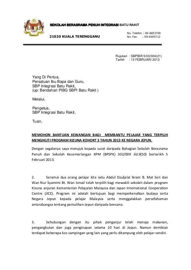 Contoh Surat Permohonan Bantuan Kewangan Sekolah Srasmi