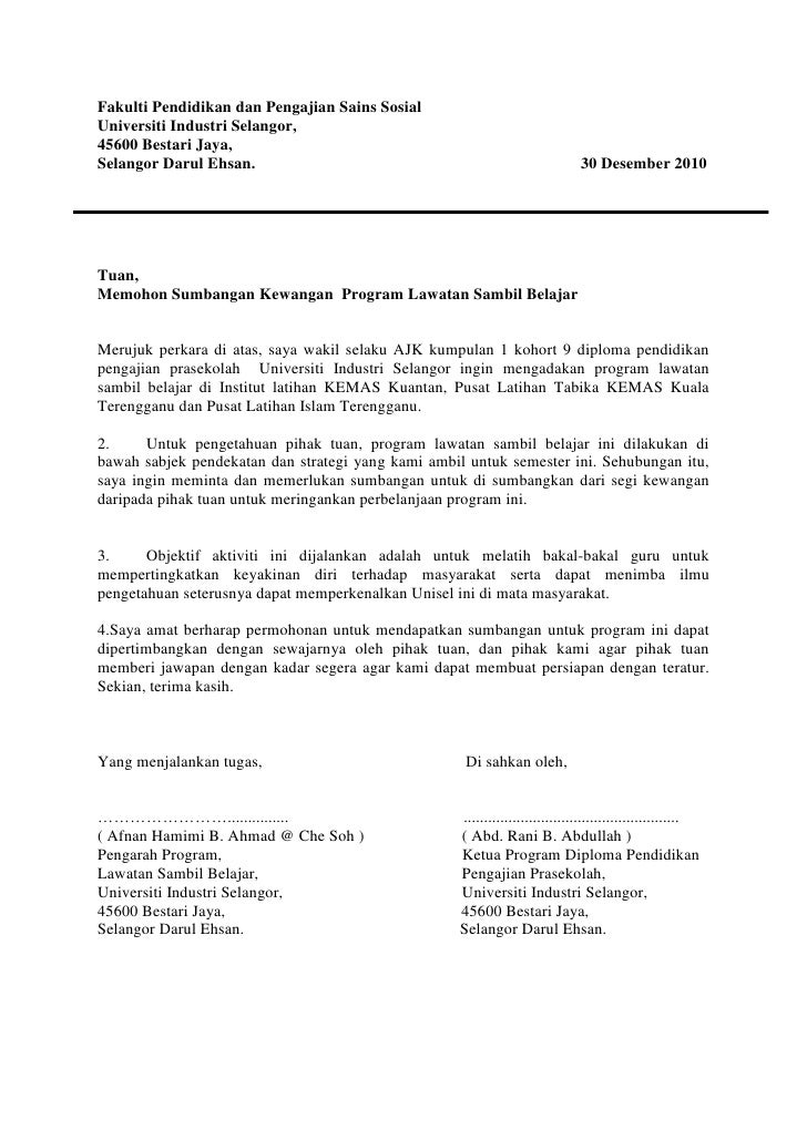 Contoh Surat Rasmi Memohon Sumbangan Dana Rasmi X