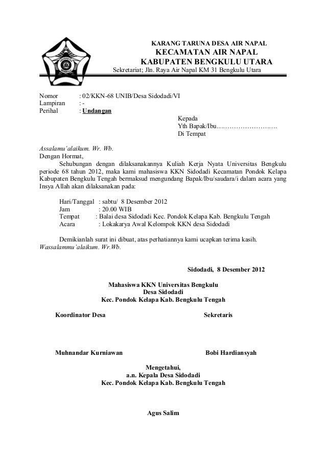 Surat Undangan Lokakarya Awal